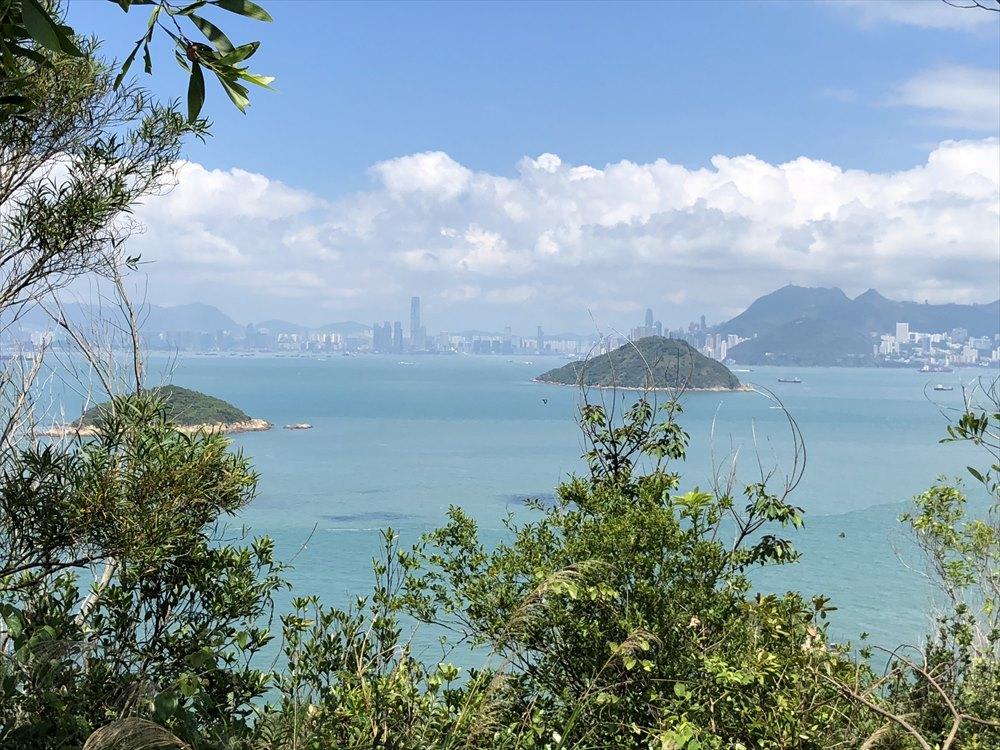 坪洲の手指山からの香港島・九竜半島