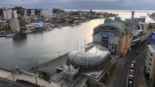 ラビスタ釧路川からの幣舞橋と釧路港