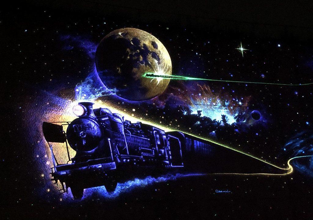 花巻の「未来都市銀河地球鉄道」壁画