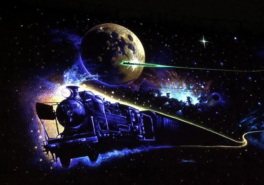 花巻の未来都市銀河地球鉄道壁画