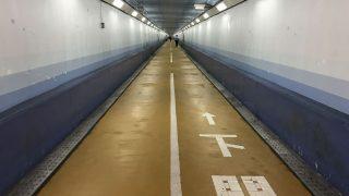 関門トンネル人道で門司から下関へ