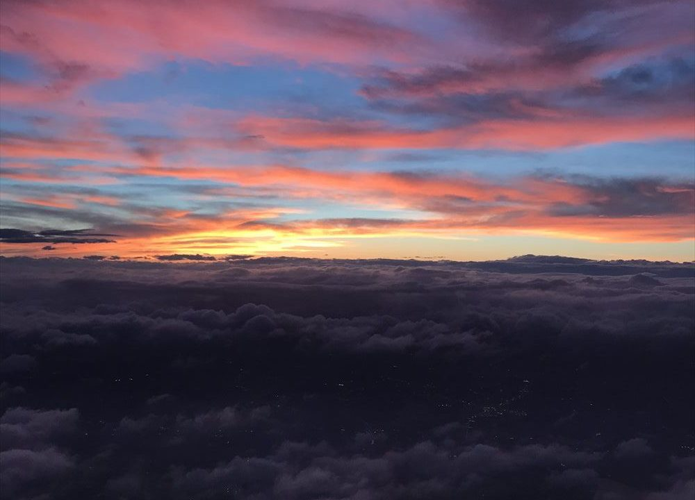 JAL914便から見た夏至の夕焼け